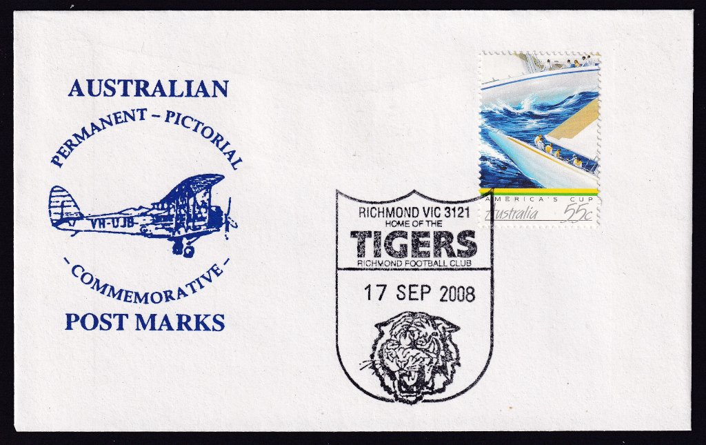 Redesigned ferocious Richmond Tigers pictorial postmark (APM #40590) fdu 17th September 2008.