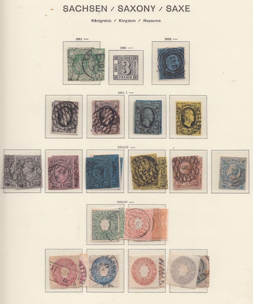 Page of German Postage stamps from Saxony.