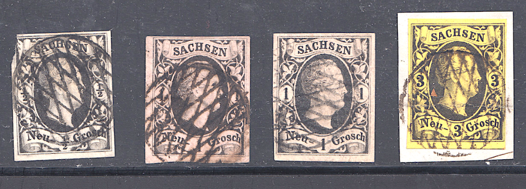 Saxony postages stamps showing full grids without number.