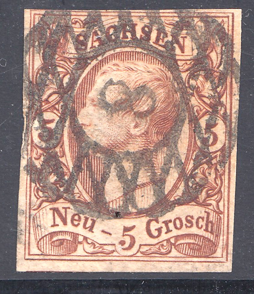 Saxony postage stamps showing grid with number 8 of Chemnitz (three sizes of the number '8' exist)