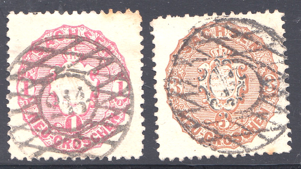 Later issues Saxony postage stamps showing grid with number of 244.(left stamp)