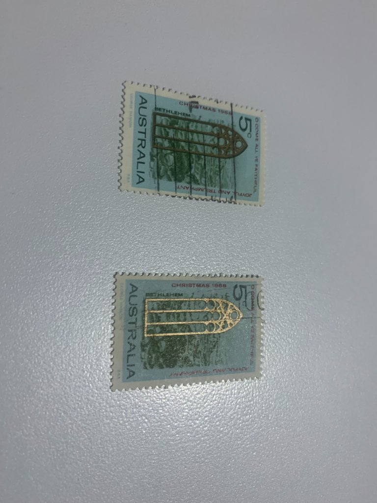 missing gold on 1968 5 cent Christmas stamp ,used