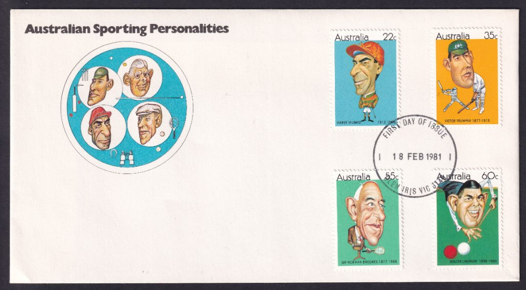 Australian Sporting Personalities fdc, including 22c Darby Munro stamp, postmarked Glen Iris fdi 18th February 1981