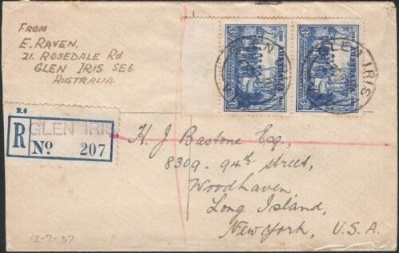 Registered cover from Glen Iris to USA. 1937.