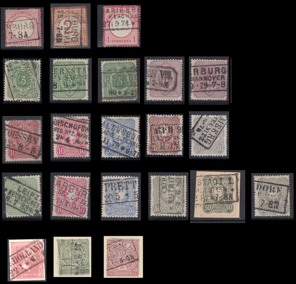 Selected long cancels on single German postage stamps.