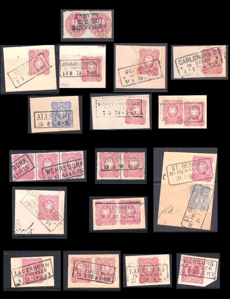 Page of Rahmenstempel on pieces. German postage stamps.