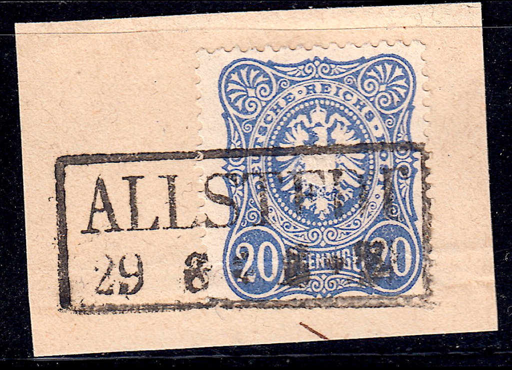 German postage stamps.  Rahmenstempel example on pieces. (5)