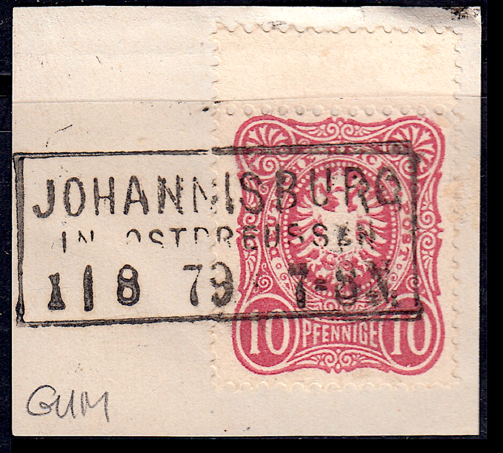 German postage stamps.  Rahmenstempel example on pieces (2).