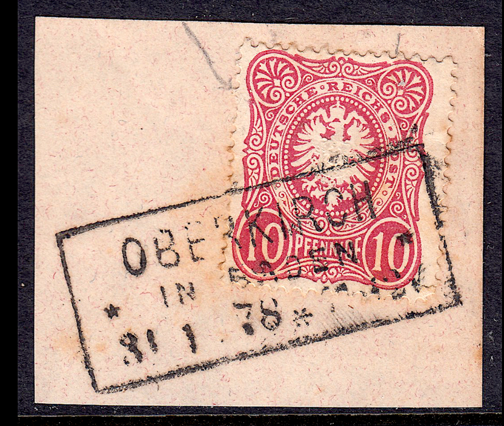 German postage stamps.  Rahmenstempel example on pieces.(3)