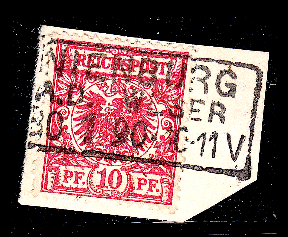 German postage stamps. Rahmenstempel example on pieces (12).