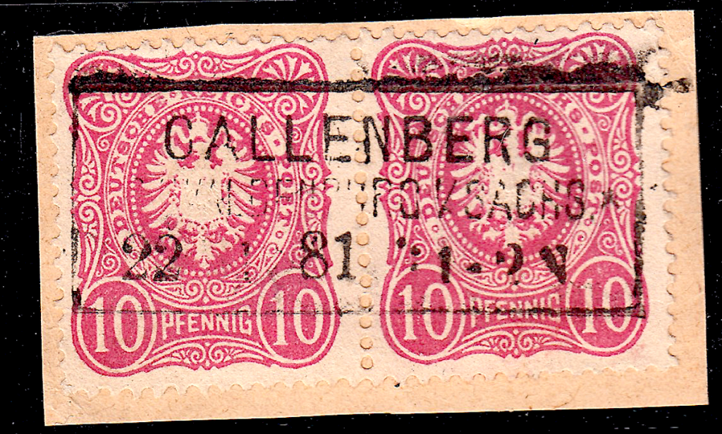 German postage stamps. Rahmenstempel example on pieces (9).