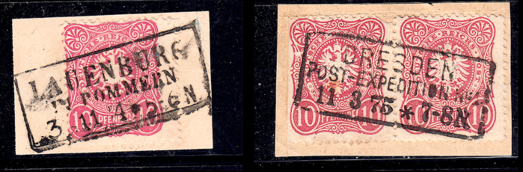 German postage stamps. Rahmenstempel example on pieces (10).
