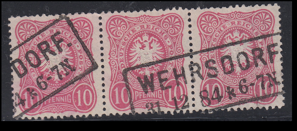 German postage stamps. Rahmenstempel example on pieces (6).