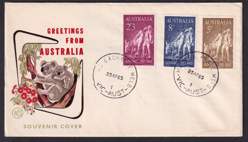 WCS Souvenir cover with 50th Anniversary of ANZAC day 5d, 8d & 2/3 stamps & postmarked Mail Centre Melbourne cds on ANZAC day the 25th April 1965