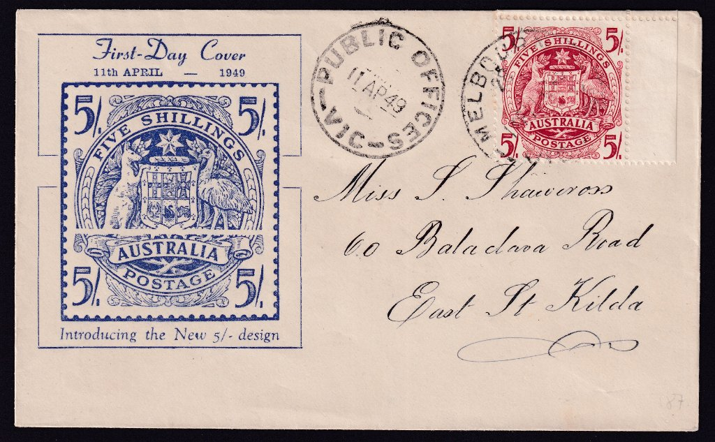 Miller Bros of Carlton cachet fdc for the 5/- Arms stamp postmarked Public Offices (Melbourne) cds to East St.Kilda on fdi - 11th April 1949