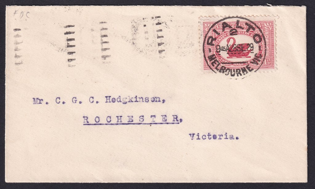 Uncacheted cover with 1½d Swan postmarked with Rialto (Collins Street) Melbourne cds on fdi 28th September 1929 to Rochester Vic.