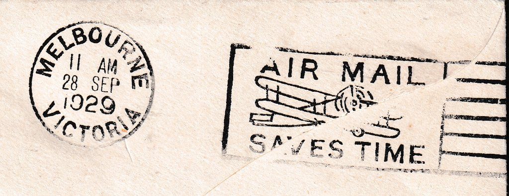 Melbourne Airmail saves time slogan cancel on the reverse - 28th September 1929