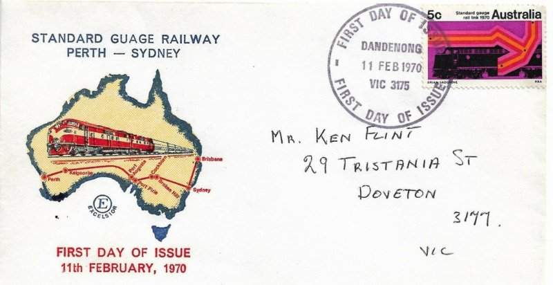 Excelsior FDC for Standard Gauge Railway issue. 1970. Note the miss-spelling.