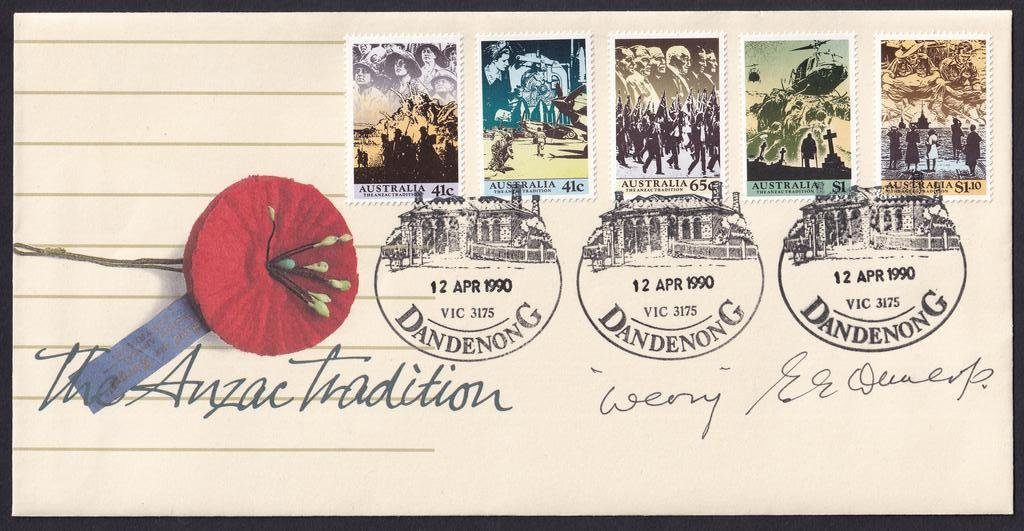 "Australia Anzac Tradition fdc postmarked with Old Dandenong Post Office Building (APM #18960) pictorial postmark on fdi 12th April 1990 & signed by, celebrated POW veteran, Colonel Sir E E ""Weary"" Dunlop"