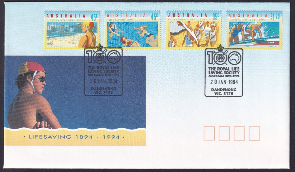 Centenary of Life Saving (1894 - 1994) fdc postmarked with 100 years Royal Life Saving Dandenong pictorial postmark (APM #26210) - 20th January 1994.