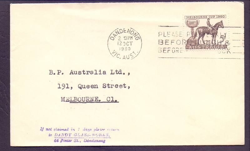 Advertising cover for Dandy Glassworks with 5d Melbourne postmarked with machine slogan cancel on fdi - 12th October 1960.