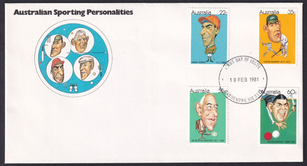 Australian Sporting Personalities fdc, including 22c Darby Munro stamp, postmarked Dandenong fdi 18th February 1981