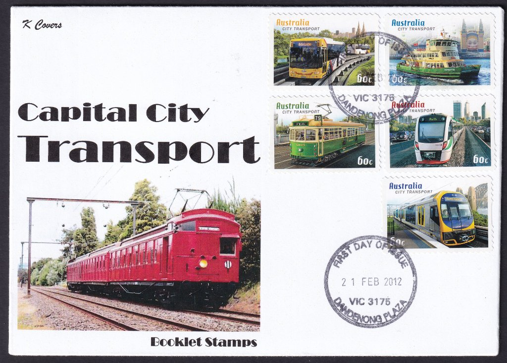 K Covers cachet fdc for Capital City Transport stamps cancelled with Dandenong Plaza fdi postmark - 7th February 2012. The cachet features the 'Red Rattler' train