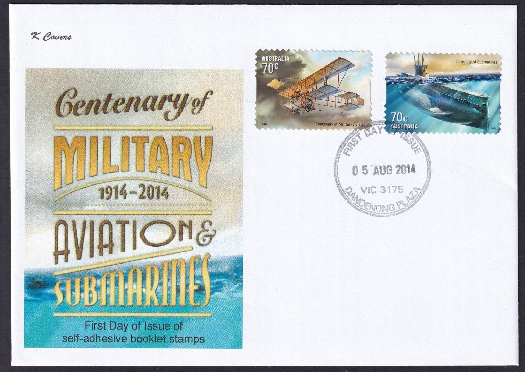K Covers cachet fdc for Centenary of Military Aviation & Submarine stamps cancelled with Dandenong Plaza fdi postmark - 5th August 2014