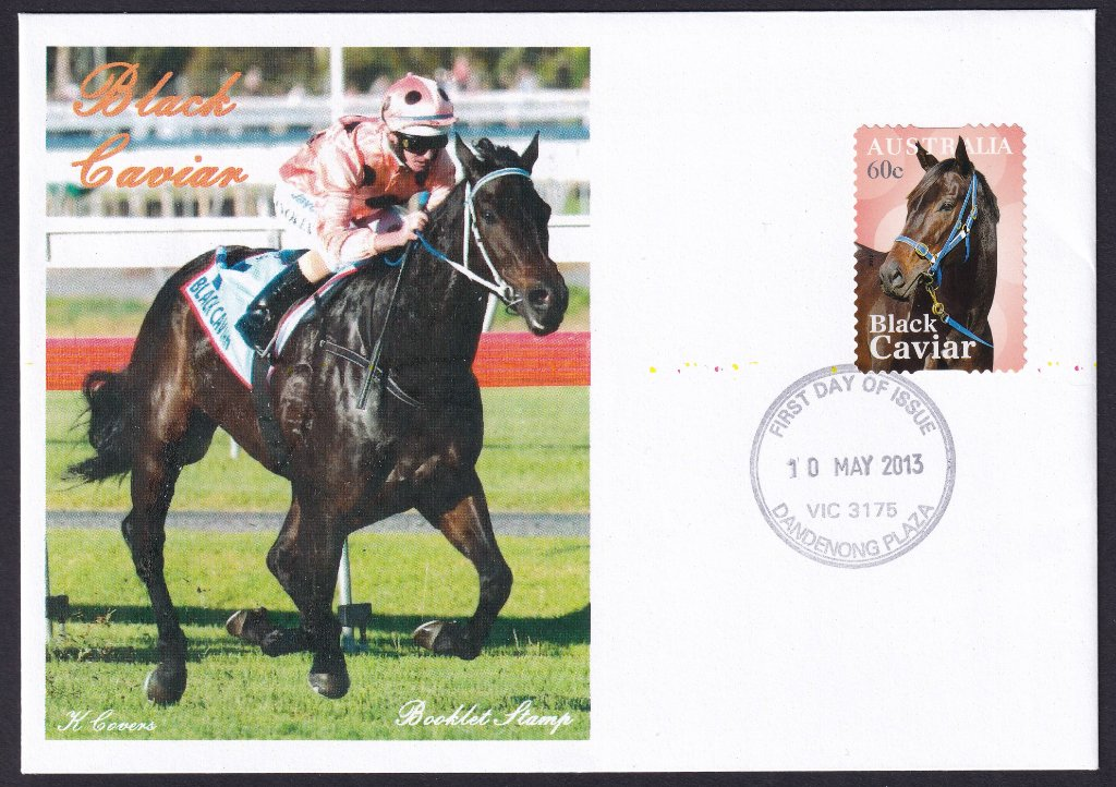 K Covers cachet fdc for the Black Caviar stamp cancelled with Dandenong Plaza fdi postmark - 10th May 2013.