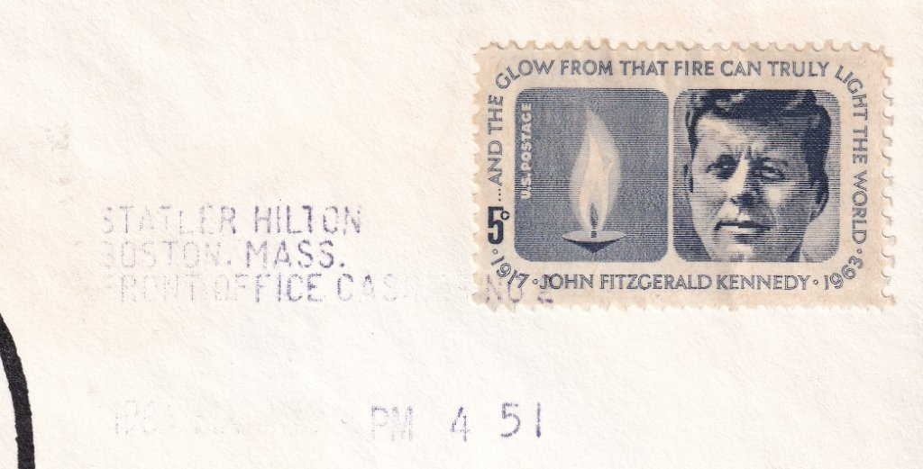Cancelled with cash register imprint from the Statler Hitler Boston Massachusetts on fdi