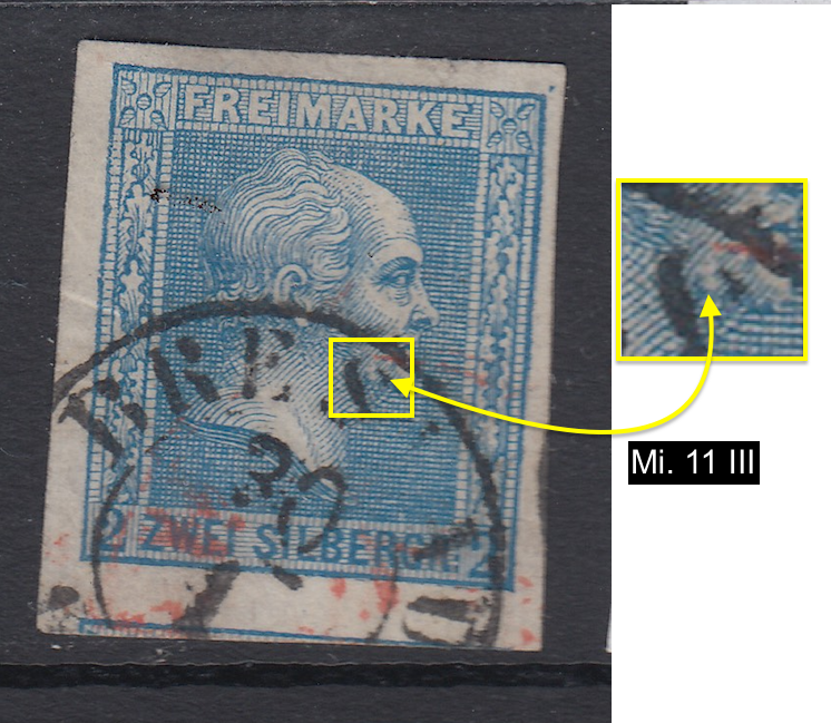 Mi.11 III. Flaw on Prussian postage stamp Germany.