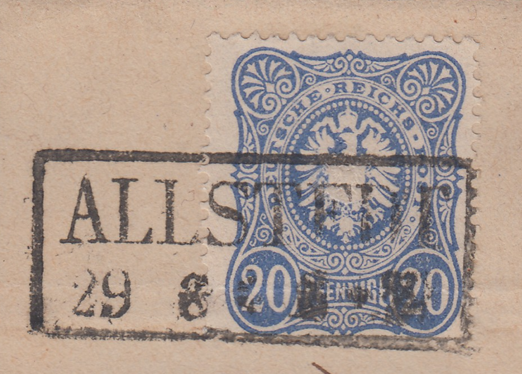 Prussian ALLSTEDT cancel 2 lined box cancel