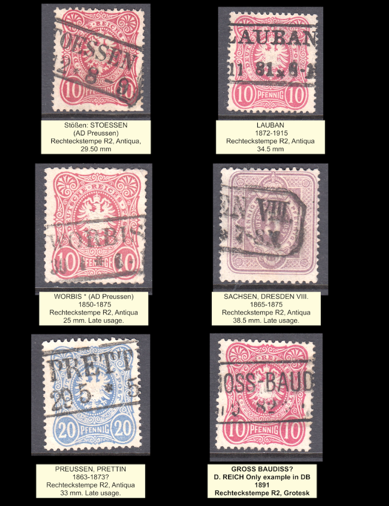 Six Deutsches Reich postage stamps showing part of two lined boxed cancels.