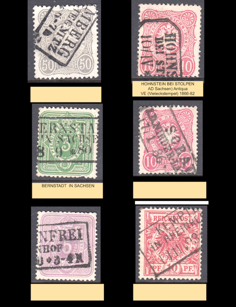 Six Deutsches Reich postage stamps showing part of three lined boxed cancels.