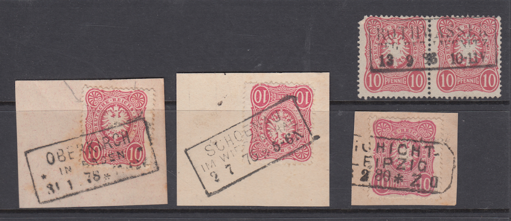 2. Overviews of boxed stamps on pieces and strips.