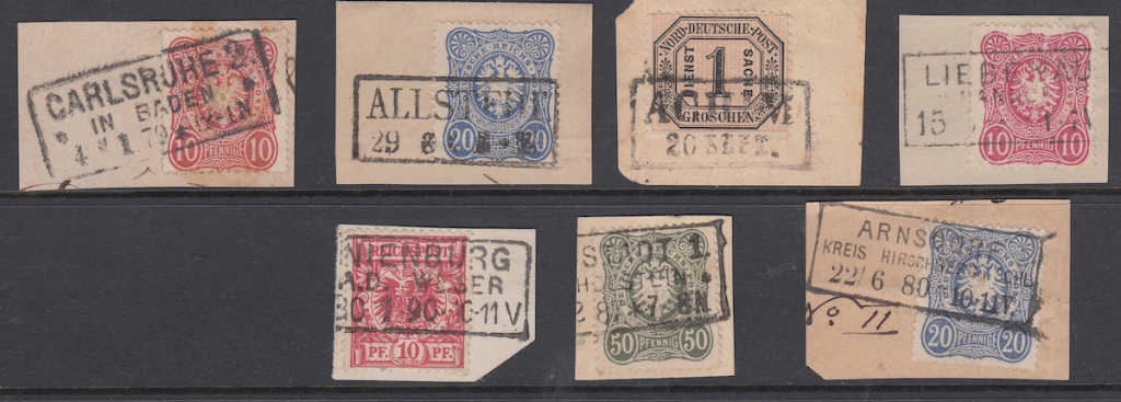 1. Overviews of boxed stamps on pieces and strips.