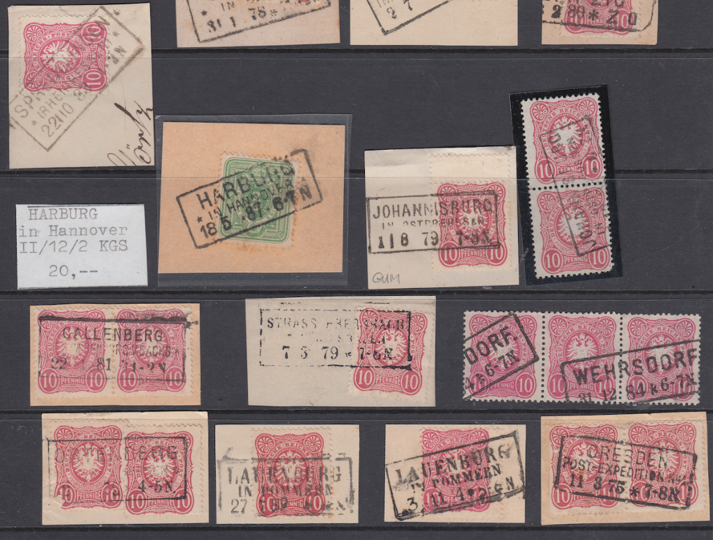 3. Overviews of boxed stamps on pieces and strips.
