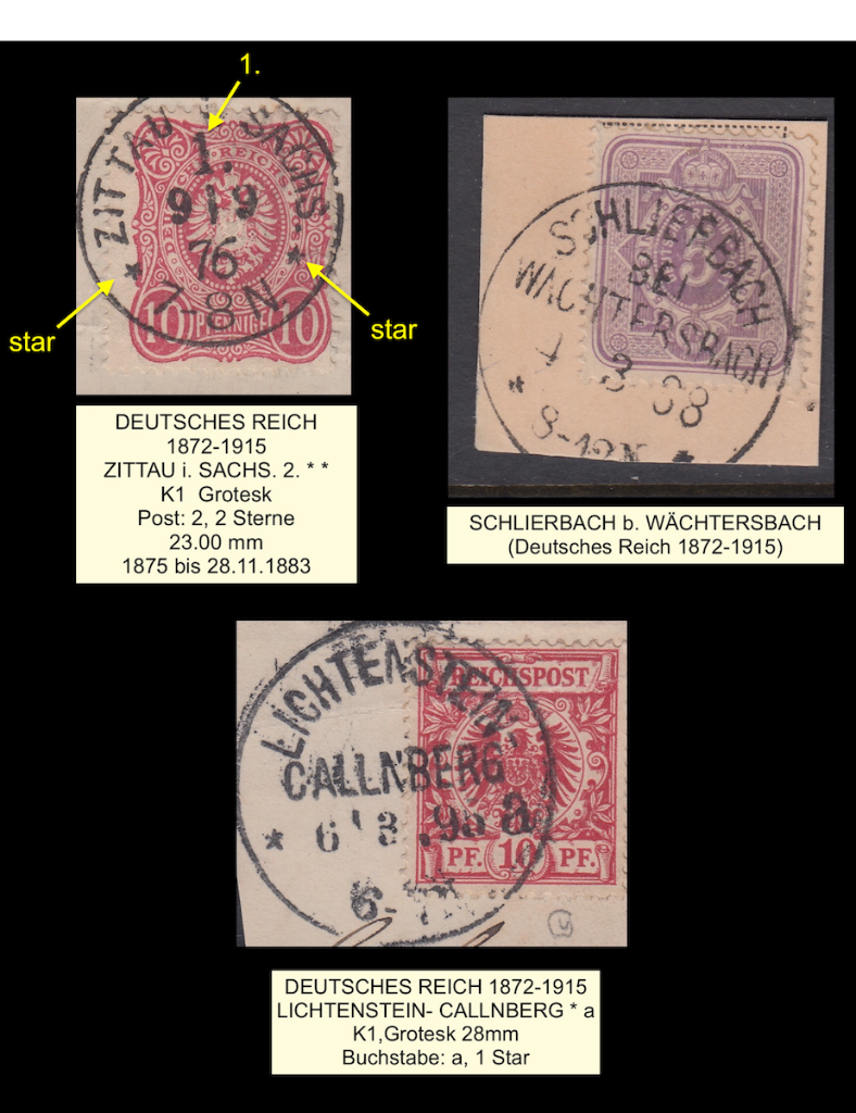 Three K1 cancelled stamps (2)  from Deutsche Reich 1876-1895, showing different characteristics.