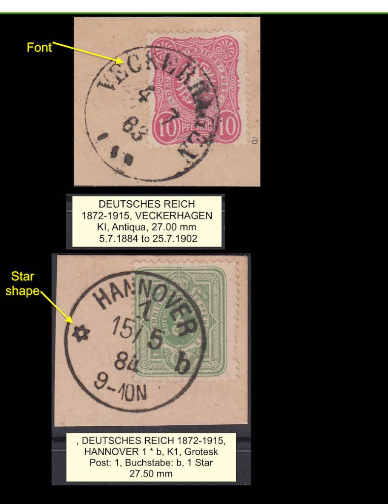Two K1 cancelled stamps (3) from Deutsche Reich, 1883-1884, showing different characteristics.