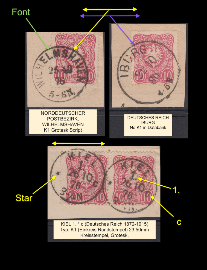 Three K1 cancelled stamps (1) from Deutsches Reich 1876-1880, showing different characteristics.