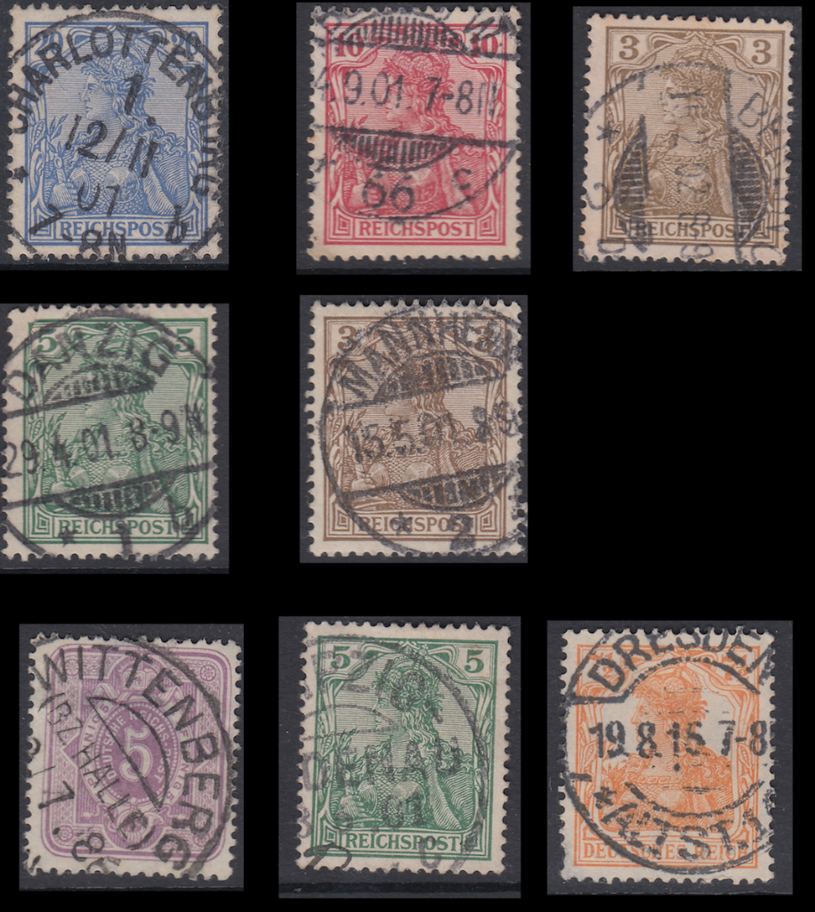 Different circular and segmented cancels on Deutsche Reich postage stamps,1886-1915.