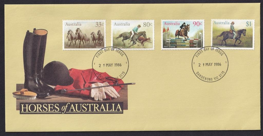 Horses of Australia 33c Brumbies, 80c Mustering, 90c Showjumping &$1 Australian Pony, postmarked Dandenong fdi - 21st May 1986.