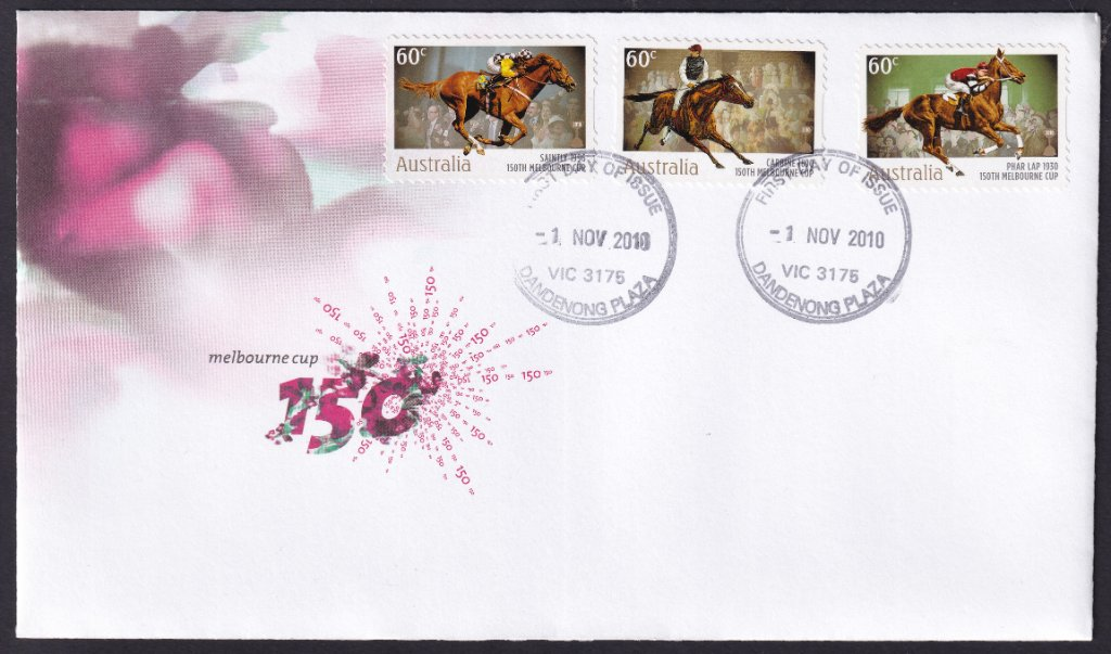 150th Anniversary fdc for the 150th Melbourne Cup for the 60c peel &amp; stick Carbine, Phar Lap &amp; Saintly 60c stamps postmarked Dandenong Plaza fdi - 1st November 2010. <br /><br />This cover was made up by David Kajewski &amp; is a precursor to the 'K Covers' shown in the next post.