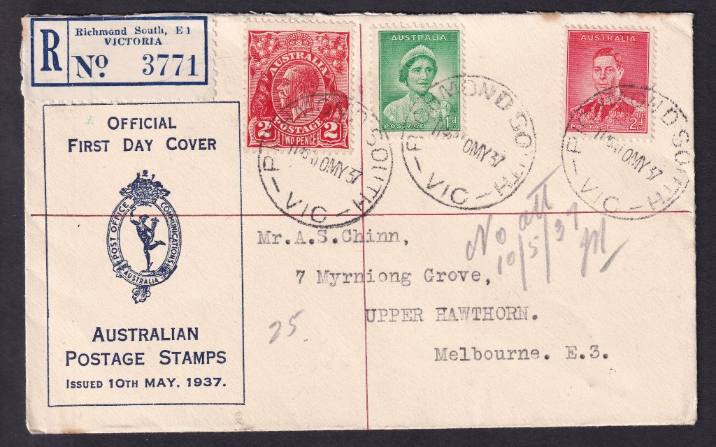 Registered Australian Post Office fdc for Coronation of KGVI & QE with KGV 2d red added to make up rate for a registered item, postmarked Richmond South cds on fdi - 10th May 1937 to Upper Hawthorn.