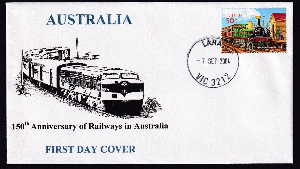 Cachet produced by Barry(?) Harding of Lara (Max Harding's nephew) for 150th Annniversary of Railways in Australia postmarked Lara cds on fdi - 7th September 2004.