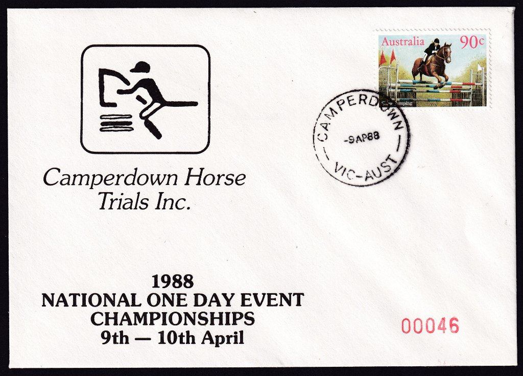 Camperdown Horse Trials souvenir cover for the 1988 National One Day Event Championships postmarked Camperdown cds - 9th April 1988.