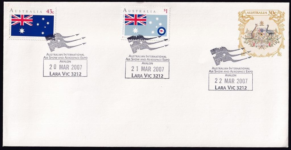 Australian International Air Show & Aerospace Expo, new Lara permanent pictorial postmark - 20th March 2007 (fdu), 21st & 22nd March 2007