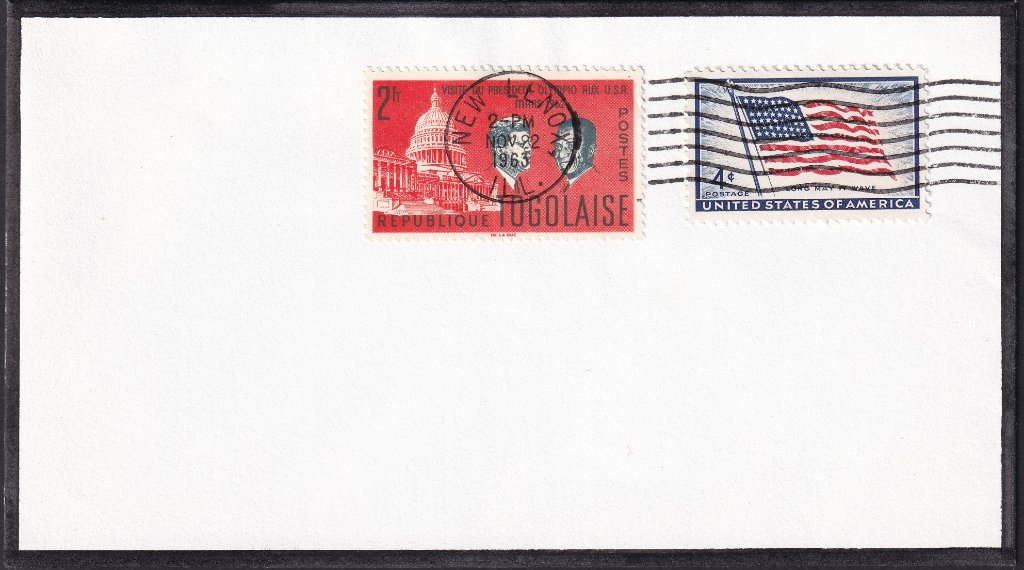 JFK mourning cover postmarked New Lenox, Illinois.