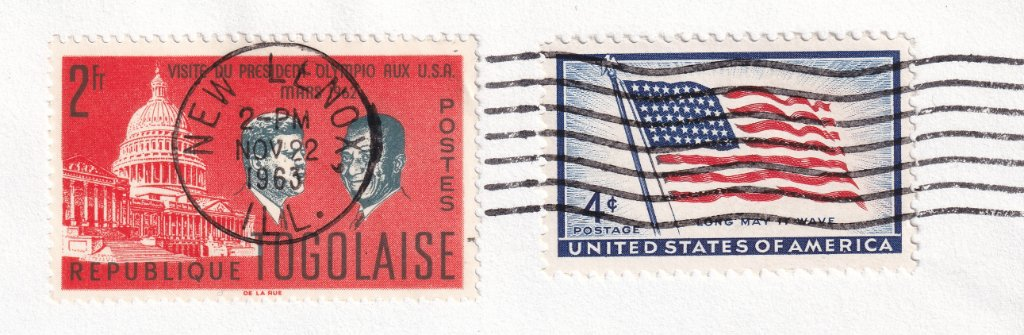 Postmarked at time of announcement of death of JFK in Illinois, 2pm November 22, 1963.
