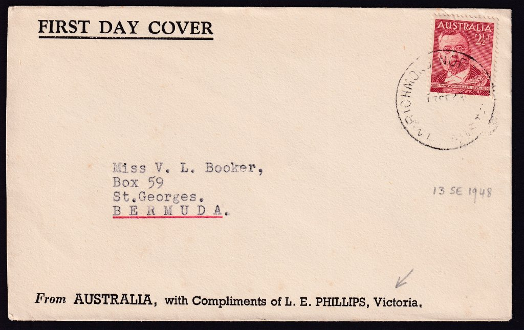 L E Phillips cachet fdc for Ferdinand Von Mueller 2½d stamp cancelled Richmond North cds on 1st May 1951 the fdi to Bermuda
